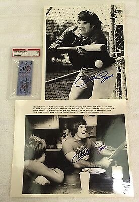 Pete Rose signed 3000 Hit ticket and 2 signed 8x10 wire photos!!! PSA/JSA!! Rare