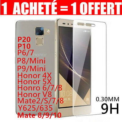 Lot2 Vitre Film Protection Verre Trempé Huawei P20/P8/9/10 Honor Mate Y6/7 Smart