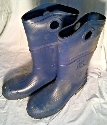 """Onguard 15"""" Height Pull On BOOTS - Steel Toe PVC Blue Boots - Men's Size 13"""