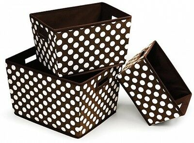 Badger Basket - Nesting Trapezoid 3 Basket Set, Brown Polka Dots