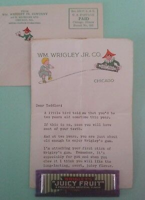 "1936 Rare Wrigley's ""Juicy Fruit"" Gum in Orginal Package, Letter and Envelope"
