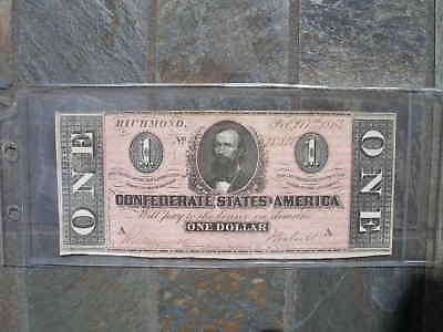 1864 $1 One Dollar Confederate Currency Banknote Note Money Bill Csa Civil War