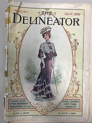 April 1901 DELINEATOR Magazine with color and b/w fashion plates