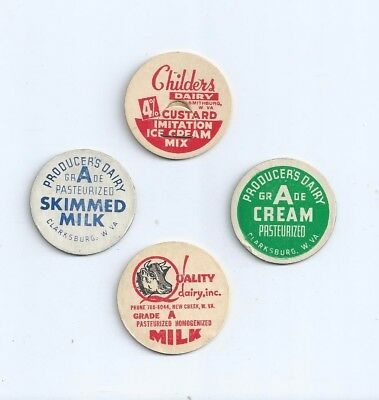 "Four different ""West Virginia""   milk bottle caps."