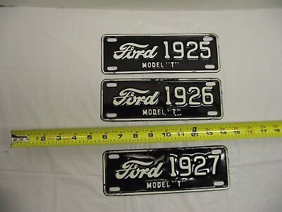 Lot of 3 Vintage Ford Model T Advertising Metal Tags SEE No-Reserve !
