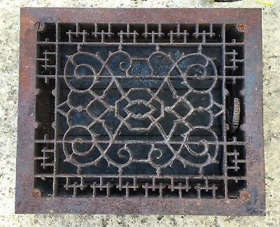 Antique - 2 Matching - Victorian Iron Heating Floor Grates Vent - 3 Louvers Work