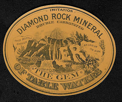 Antique 1880's Diamond Rock Mineral Water Paper Label - Milwaukee