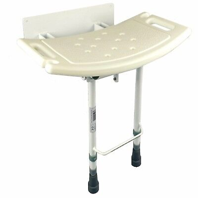 Wall mounted folding fold down shower seat chair adjustable legs