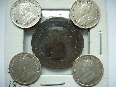 4 Canada Silver 5 Cent 1912 1918 1918 1920 + 1893 Penny = 5 coins