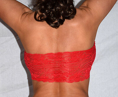 RED LACE BANDAU BRA Lace Sexy Stretch O/S NEW