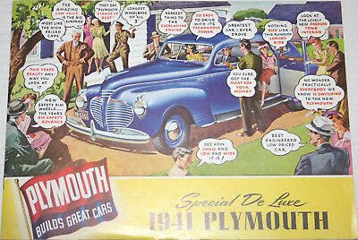 1941 PLYMOUTH Special DeLuxe Builds Great Cars 20 page ORIGINAL sales Brochure