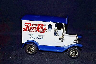 Pepsi Cola Delivery Truck Coin Bank Advertising Metal Piggy Blue White