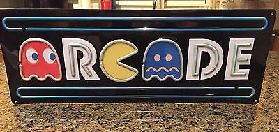 Pac Man Arcade Game Metal Sign Vintage Look Video Pinball Coin Operated