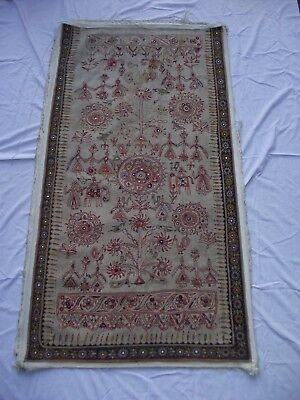 Early 1900's Hand Stiched Silk Middle Eastern ? People & Animals Wall Tapestry