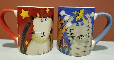 Cool Cats Coffee Mug Cup by Debi Hron Gibson Everyday Lover Bird Flowers 2006