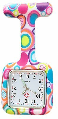 Nurses Coloured Patterned Silicon Rubber Fob Watches SQUARE Colourful Bubbles