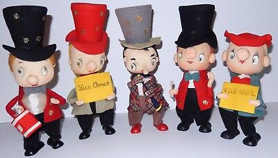 Christmas Dolls by NOEL Felt Fabric Dolls TOPHATS Made in Japan Mid Century