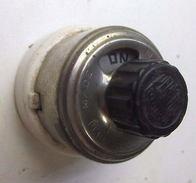Antique vintage Perkins porcelain nickel plated tested rotary turn switch 10 amp