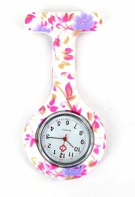 Nurses Coloured Patterned Silicon Rubber Fob Watches - Purple Flowers