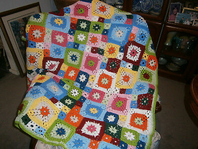 Modern Granny Square Bed Topper or Throw