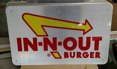 """IN N OUT BURGER Reflective Interstate Highway Sign 18"""" X 30"""" MAN CAVE POOL"""