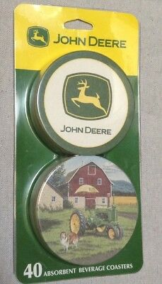 John Deere collectible Coasters Farmhouse New sealed package 40 absorbent