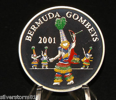Bermuda 2001 Gombeys  Coloured Silver proof coin + COA