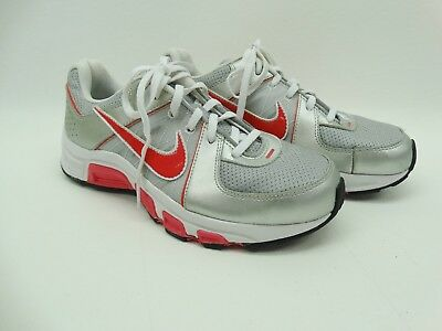 Nike Youth Girls Silver Gray Pink T-Run 5 443988 Sneakers EUC Size 6 Y