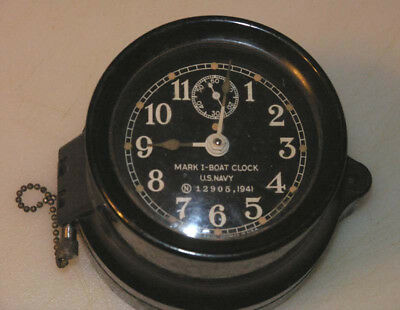 Vintage Seth Thomas  WW2 US Navy Mark 1 Deck Clock 1941  Runs