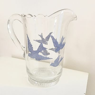 Vintage Bluebirds Pitcher Diamond Glass Co Antique Sparrows