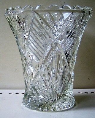 Vintage Art Deco Vase Diamond, Concertina, Sun-ray design, 19cm High