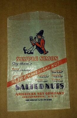 Vintage Advertising Small Wax Paper Bag SIMPLE SIMON Salted Nuts ☆FREE SHIPPING☆
