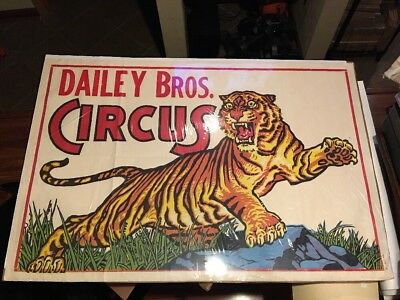 Extra Large Rare Awesome Graphics Circus Poster Dailey Bros. Circus Tiger 30s