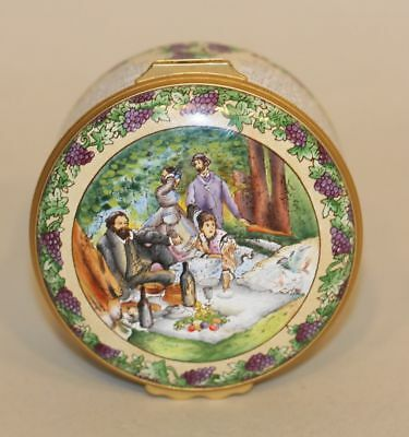 Halcyon Days Enamel Trinket Box In Praise of Claret Wine Grapes Picnic Vineyards