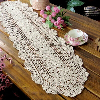 Beige Oval Lace Table Runner Floral Handmade Crochet Table Doily 12X35inch