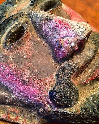 Antique Mexican Polychrome Pottery Dance Mask Heavy Patina