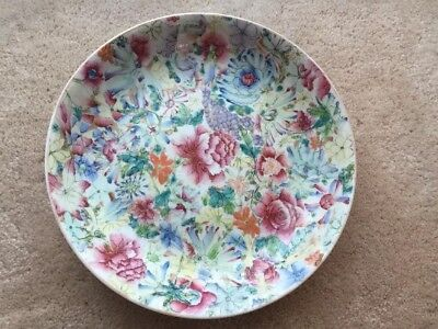 Antique Chinese Famille Rose Mille-Fleurs Thousand Flower Plate Qianlong Mark