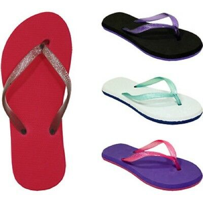 Women's Glitter Flip Flops, Wholesale lot of 72 pairs, Assorted Colors and Sizes