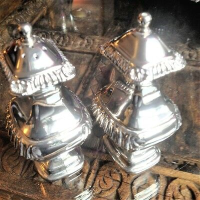 Fine Heavy Silver Plated Cruet Salt and Pepper Shakers 4.1/2in (11.5cm) Perfect