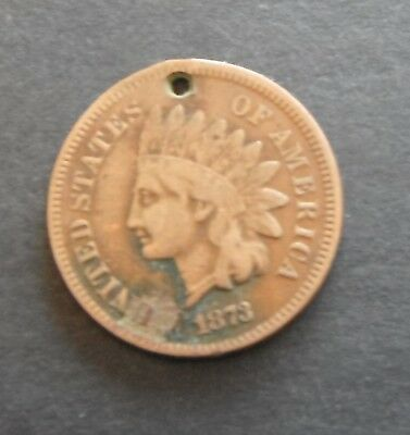 USA 1873 Indian Head Cent (holed)