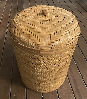 Round Woven Cane Basket with a lid