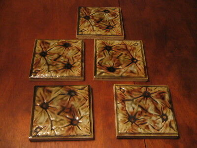 Antique Fireplace Tile Lot of 5 Free Shipping.
