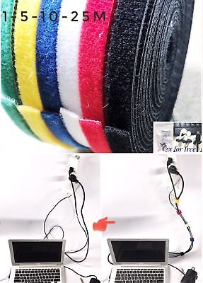 10mm*1m-5m-10m-25m Reusable Cable Tie Strap Wrap Hook Loop Self-Gripping Tape