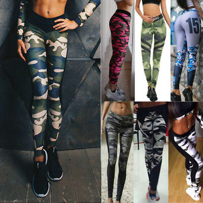 Women Camouflage Sports Leggings Yoga Gym Fitness Pants Skinny Trousers Jeggings