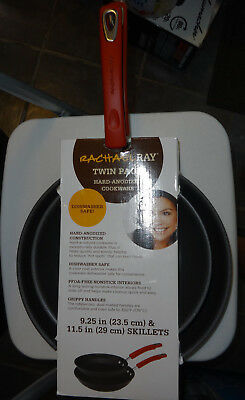 "Rachel Ray Twin Pack Hard-Anodized cookware 9.25"" and 11.5"" Skillets"
