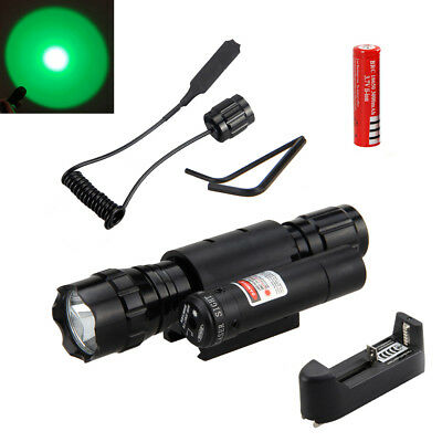 Powerful Tactical GREEN LED Flashlight Torch+Red Laser Sight Scope+Mount Ring