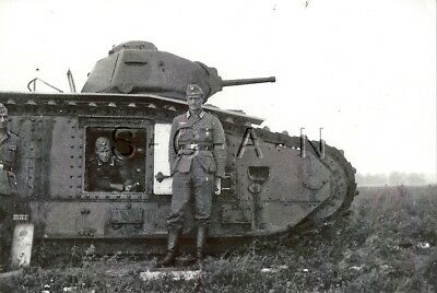 WWII German Large (5.0 x 3.5) REPRO Photo- French Heavy Tank- Panzer Char B1- #5