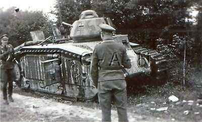 WWII German Large (5.5 x 3.5) REPRO Photo- French Heavy Tank- Panzer Char B1- #2
