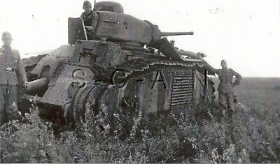WWII German Large (5.0 x 3.5) REPRO Photo- French Heavy Tank- Panzer Char B1 #7