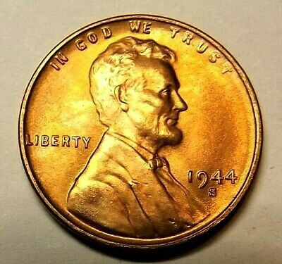"1944-S Lincoln Wheat 1c""SOLID BRIGHT""GEM BU/RED""Original Mint""From OBW roll.."